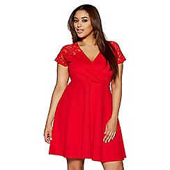 Quiz - Curve red lace sleeve wrapover skater dress