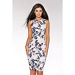 Quiz - Pink and navy flower print keyhole bodycon dress
