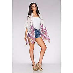 Quiz - White and pink tassel hem kimono