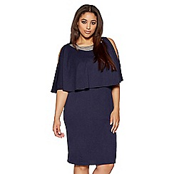 Quiz - Curve navy diamante trim overlay midi dress