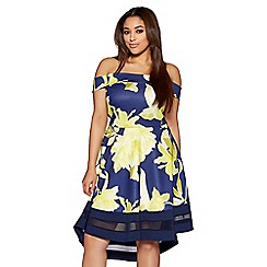 Quiz - Curve navy and yellow floral print bardot dip hem dress