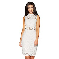 Quiz - White crochet mesh panel midi dress