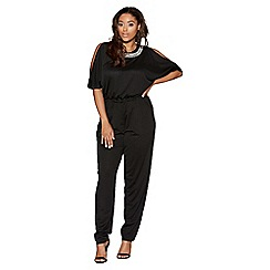 Quiz - Curve black diamante trim jumpsuit