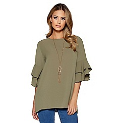Quiz - Khaki 3/4 frill sleeve necklace top