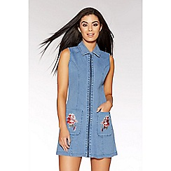 Quiz - Blue denim embroidered tunic dress
