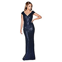 Quiz - Navy sequin cross front bardot maxi dress