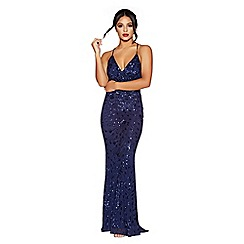 Quiz - Navy sequin cross back fishtail maxi dress