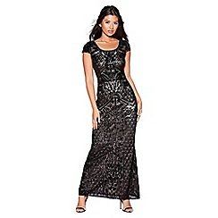 Quiz - Black and nude sequin mesh maxi dress