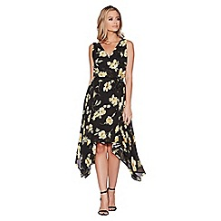 Quiz - Black and yellow chiffon floral crossover front dress
