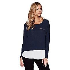 Quiz - Navy and white chiffon light knit zip detail top