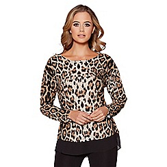 Quiz - Black and stone light knit leopard print top