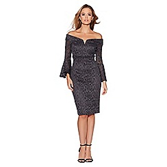 Quiz - Grey glitter lace bardot frill dress