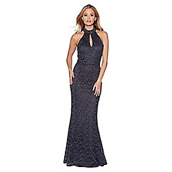 Quiz - Grey and silver glitter lace high neck fishtail maxi dress
