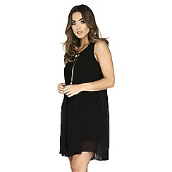 Quiz - Black chiffon necklace tunic dress