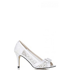 Quiz - White sequin lace bow lace court heel shoes