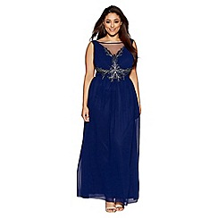 Quiz - Curve navy chiffon embellished mesh detail maxi dress