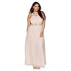 Quiz - Curve nude chiffon embellished high neck maxi dress