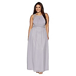 Quiz - Curve grey chiffon embellished keyhole maxi dress