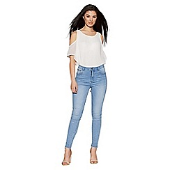 Quiz - Light blue diamante skinny jeans
