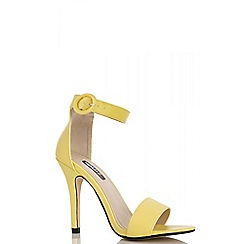 Quiz - Yellow buckle strap heeled sandals