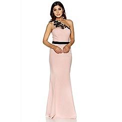 Quiz - Pink and black mesh one shoulder maxi dress