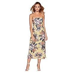 Quiz - Yellow floral print culotte jumpsuit