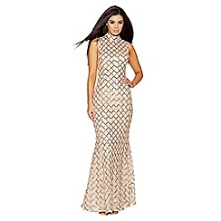 Quiz - Champagne and gold sequin high neck fishtail maxi dress