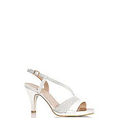 Quiz - Silver shimmer strappy low heel sandals
