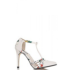 Quiz - Cream blossom print t-bar pointed court shoes