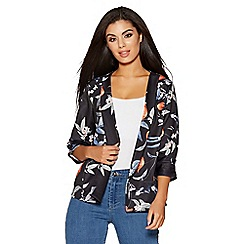 Quiz - Black and orange floral print ruched sleeves jacket