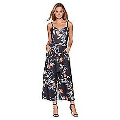 Quiz - Black and orange floral print culotte jumpsuit