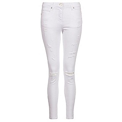 Quiz - White denim ripped skinny jeans