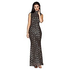 Quiz - Black and gold sequin high neck fishtail maxi dress