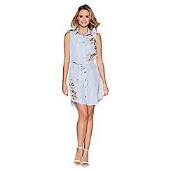 Quiz - Blue embroidered sleeveless shirt dress