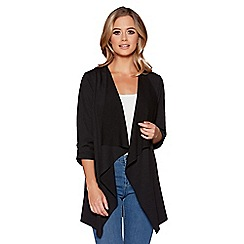 Quiz - Black waterfall front 3/4 ruched sleeves jacket