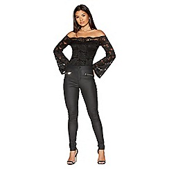 Quiz - Black coated high waist jeggings