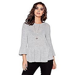 Quiz - Grey light knit ruffle sleeve necklace top