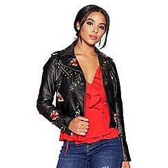 Quiz - Black embroidered stud zip jacket