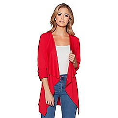 Quiz - Red waterfall front 3/4 ruched sleeves jacket