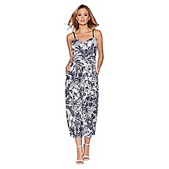 Quiz - Cream and navy tropical print culotte jumpsuit
