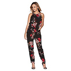 Quiz - Black and red floral print jumpsuit