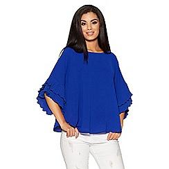 Quiz - Royal blue pleated sleeves dip hem top
