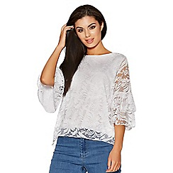 Quiz - White lace double frill sleeves top