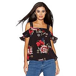 Quiz - Black and red floral print cold shoulder top