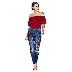 Quiz - Blue rose embroidered ripped skinny jeans