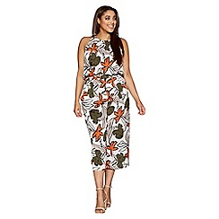Quiz - Curve cream and khaki tropical print culotte jumpsuit