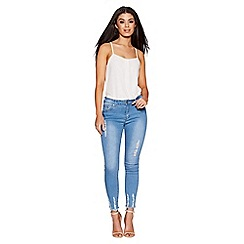 Quiz - Light blue stretch denim frayed jeans