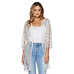 Quiz - White crochet lace 3/4 sleeves jacket