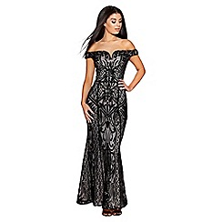 Quiz - Black sequin mesh bardot maxi dress