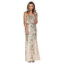 Quiz - Gold sequin fishtail maxi dress